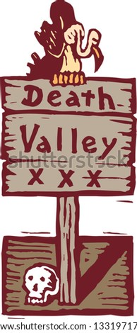 Vector illustration of Death Valley sign with vulture and skull - stock vector