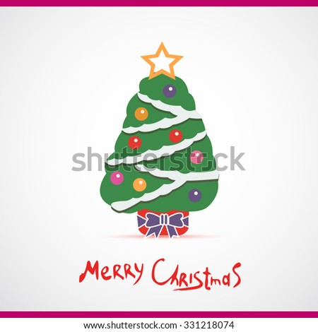 Vector illustration of decorated Christmas tree. Christmas tree