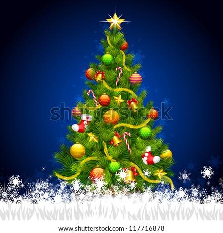 vector illustration of decorated Christmas tree in snowflakes - stock vector