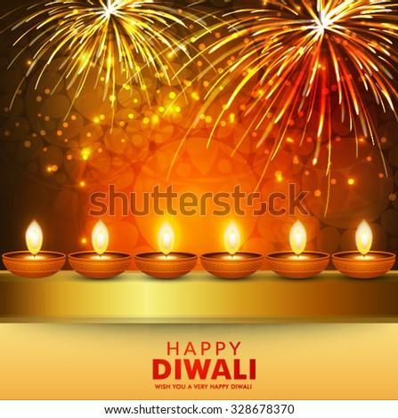 Vector illustration of decorated Diwali diya on colorful celebration  background. - stock vector