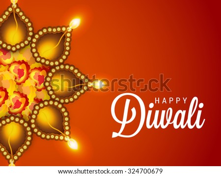 Awesome Vector Of Decorated Diwali Diya On Flower Rangoli With