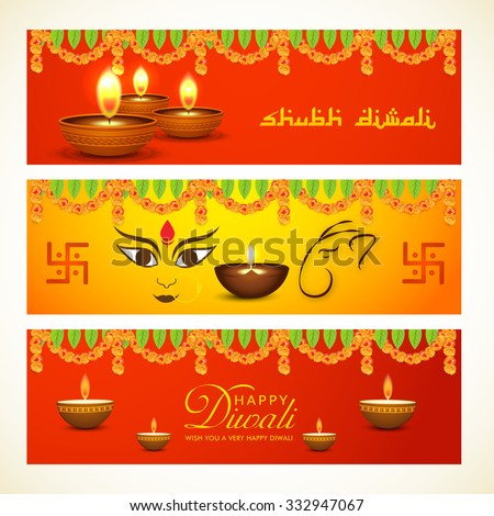 Vector illustration of decorated header for Diwali.