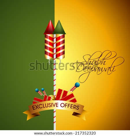 vector illustration of decorative design for diwali festival with crackers.  - stock vector