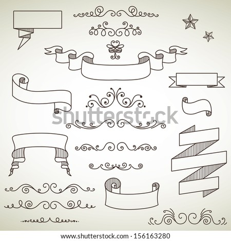 Vector Illustration of Decorative Vintage Elements - stock vector