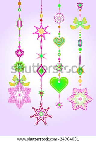 Vector Illustration of Decorative Wind Chimes with fanky snowflake shapes design - stock vector