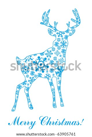 Vector illustration of deer made of blue snowflakes over text Merry Christmas