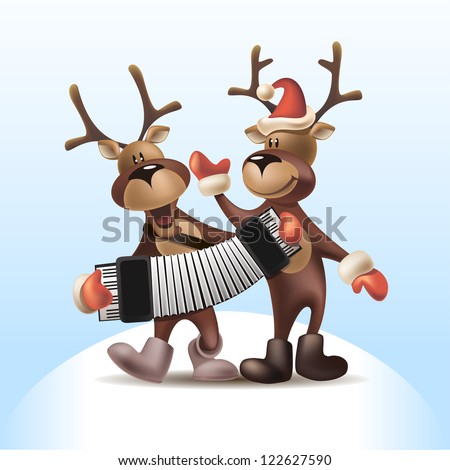 Vector Illustration of Deers with Harmonica - stock vector