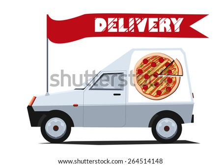 Vector illustration of delivery car with banner. Side view. Solid fill only.  Can be used for advertisement, game or mobile apps icon.  - stock vector