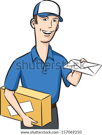 Vector illustration of delivery man with letter in hand. Easy-edit layered vector EPS10 file scalable to any size without quality loss. High resolution raster JPG file is included. - stock vector