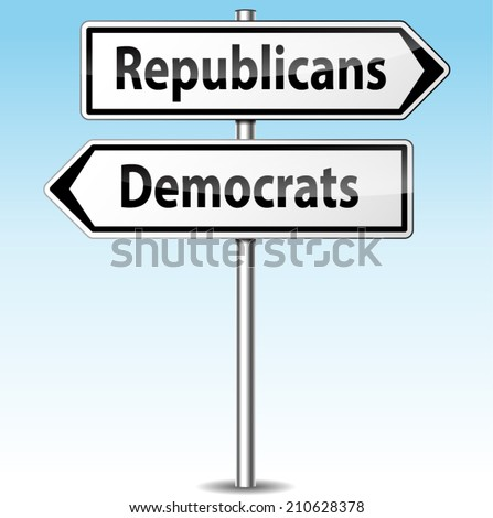 Vector illustration of democrats and republicans directional sign - stock vector