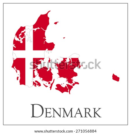 Vector illustration of Denmark flag map - stock vector