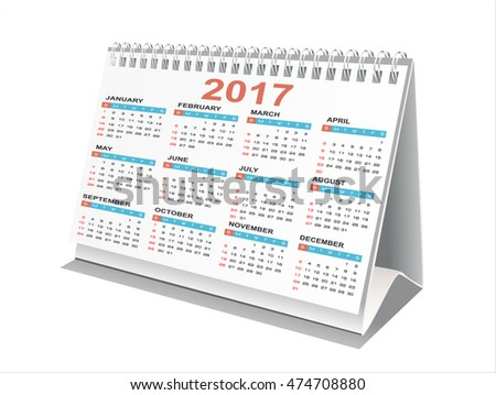 Vector illustration of desktop calendar 2017 against white.