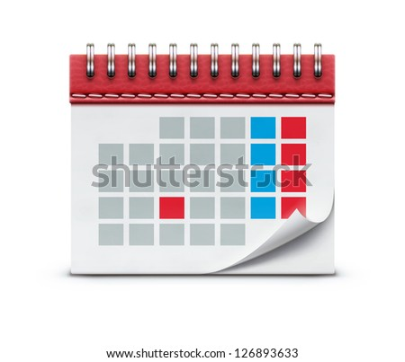 Vector illustration of detailed beautiful calendar icon isolated on white background.