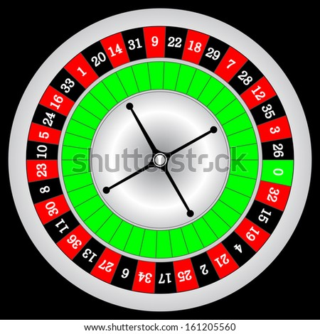 Vector illustration of detailed casino roulette wheel, isolated on black background.