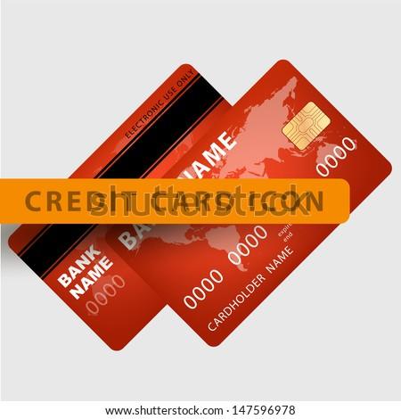 Vector illustration of detailed credit card visa. eps10 vector illustration - stock vector