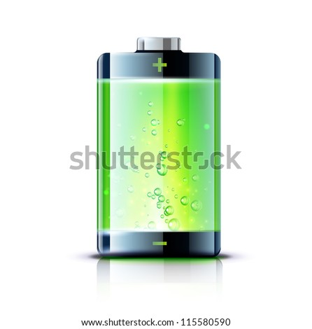 Vector illustration of detailed glossy battery full level indicator icon - stock vector