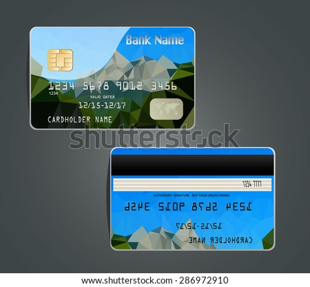 Vector illustration of detailed glossy credit card with design polygon isolated on background.