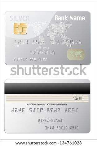 Vector illustration of detailed glossy silver credit card isolated on white background - stock vector