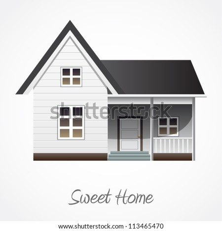 Vector illustration of detailed house icon isolated on white background. - stock vector