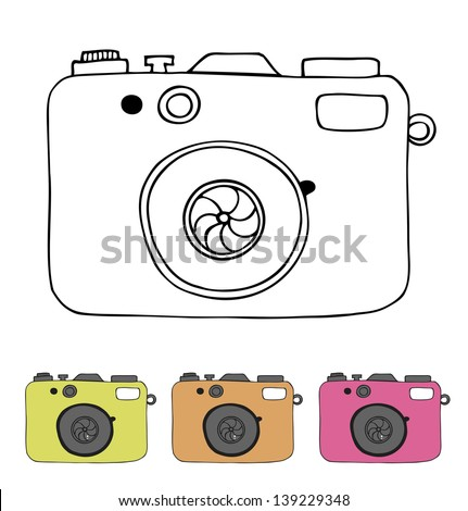 Vector illustration of detailed isolated icons of camera in retro style. Linear drawn image - stock vector