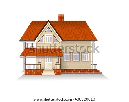 Vector illustration of detailed suburban family house with mansard. Wooden house. Isolated on white background.