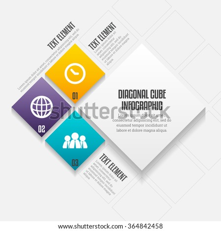 Vector illustration of diagonal cube infographic design elements. - stock vector
