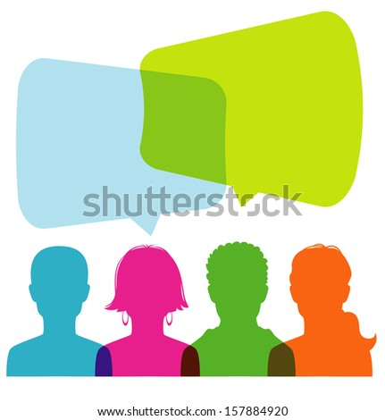 Vector illustration of Dialog people - stock vector