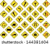 Vector illustration of Diamond yellow road signs collection - stock vector