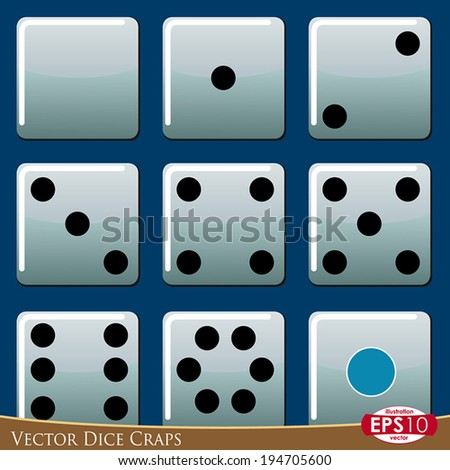 Vector illustration of dice craps isolated.
