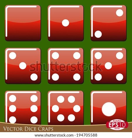Vector illustration of dice craps isolated on green background. - stock vector