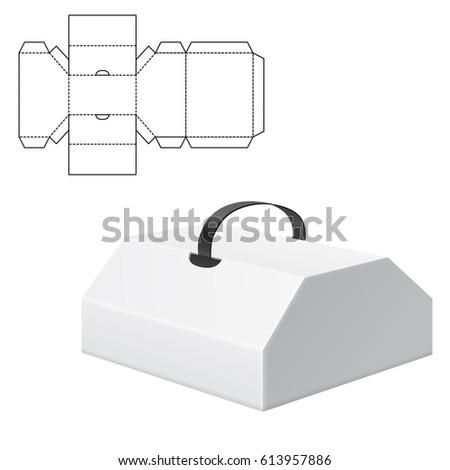 vector illustration diecut craft box design stock vector 613957886 shutterstock. Black Bedroom Furniture Sets. Home Design Ideas