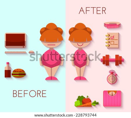 Vector illustration of diet result in flat style - stock vector