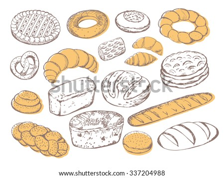 Vector illustration of different breads and pastries. Isolated sketch of bread on a white background.