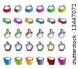 Vector illustration of 30 different browsing hand computer cursors and pointers in various colors. Shaded in 3D. Clean and detailed. - stock photo