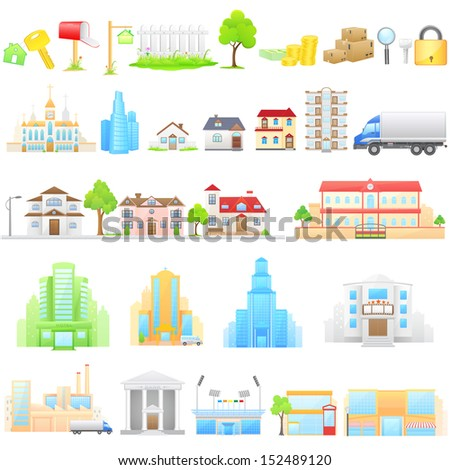 vector illustration of different building - stock vector