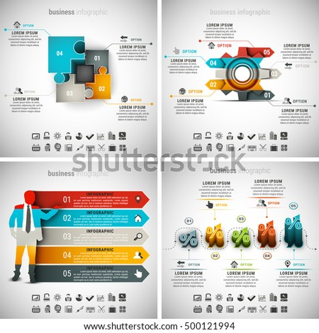 Vector illustration of different business infographics.