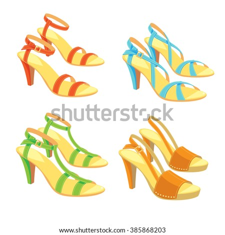 Vector illustration of different color and model sandals with ankle strap on white background.
