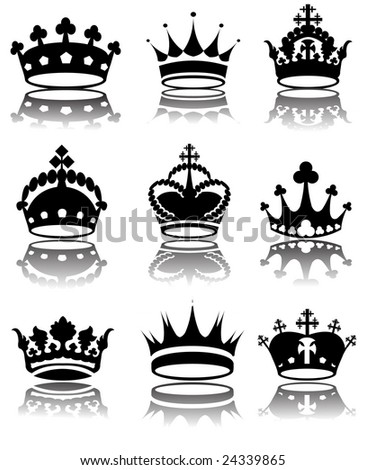 Vector illustration of different crowns - stock vector