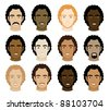 Vector Illustration of 12 different Curly Afro Men Faces. - stock vector