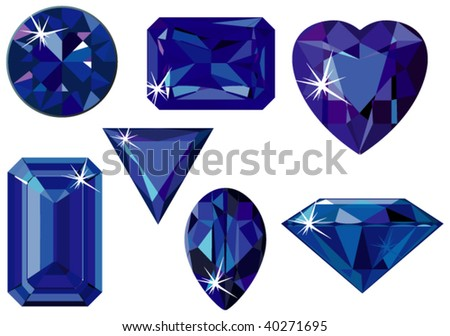 Vector illustration of different cut sapphires isolated on white - stock vector
