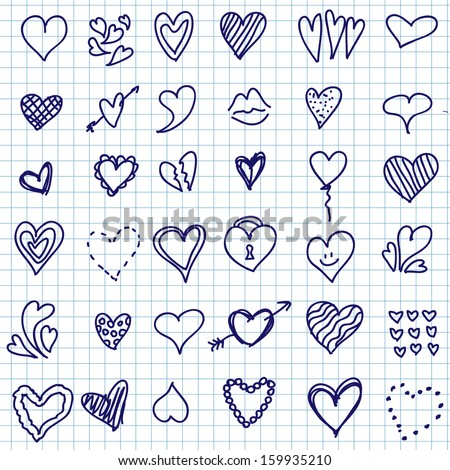 Vector illustration of different hearts hand drawn, doodle set isolated on notepaper - stock vector