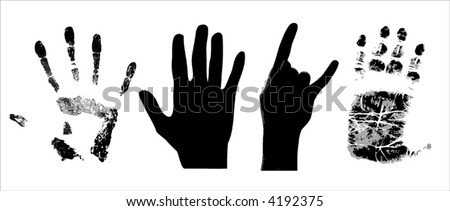 vector illustration of different kind of hands - stock vector