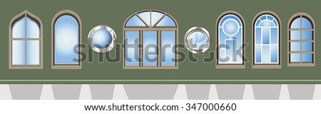 Vector illustration of different kind of  windows on a green wall  - stock vector