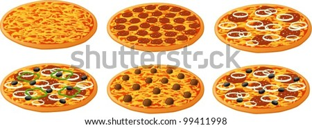 Vector illustration of 6 different kinds of pizza.