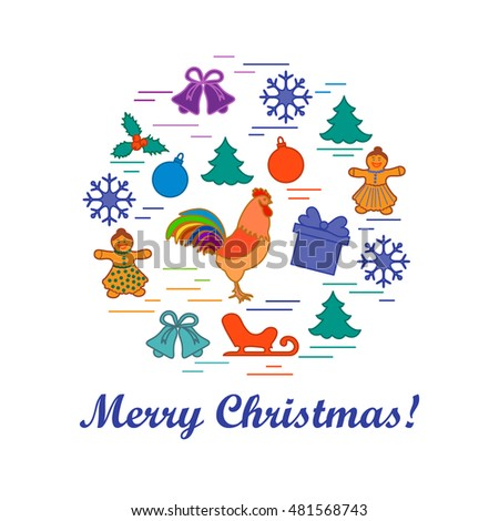Vector illustration of different new year and christmas symbols arranged in a circle. Painted in bright colors winter elements.