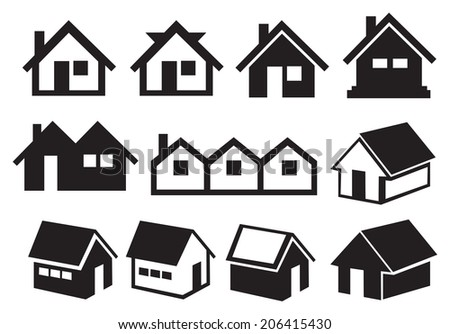 Vector illustration of different pitched roof houses in black and white. - stock vector