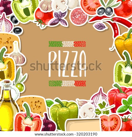Vector illustration of different pizza ingredients with copy space - stock vector