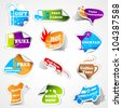 vector illustration of different promotional tag sticker - stock photo