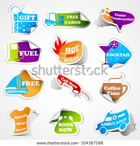 vector illustration of different promotional tag sticker - stock vector