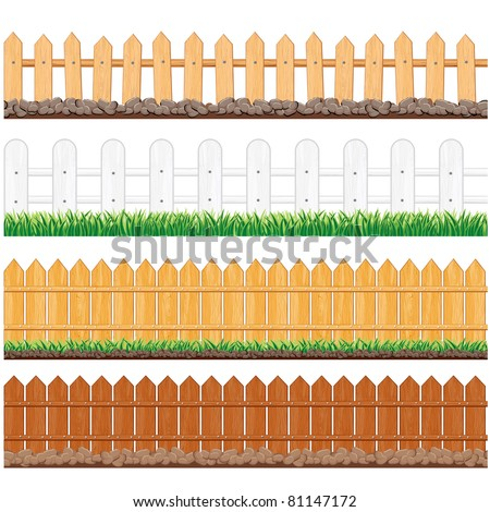 Vector Illustration of Different Seamless Wooden Fences - stock vector
